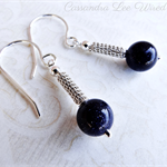 Sterling Silver Coiled & Wire Wrapped Blue Goldstone Earrings