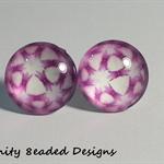 Pink Pattern Stud Earrings