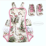 Springtime Birds #1, NBorn Baby Girl, Playsuit Shoes, pink cream beige white