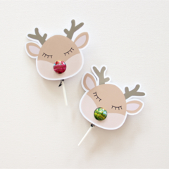 12 Reindeer Lollipop holders. Chuppa Chup cards.