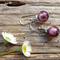 Lilac Silver Foil, Lampwork Glass Bead Earrings