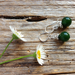 Natural Emerald Gemstone & Sterling Silver Earrings