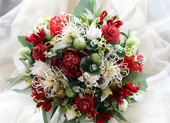 Red And White Native Rustic Bouquet Wedding Bouquet Of