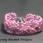 Pink Superduo Beaded Bracelet