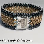 Black and Gold Superduo   Beaded Bracelet