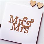Mr & Mrs wedding bride groom love gold glitter celebrate card