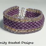 Gold and Purple Superduo   Beaded Bracelet