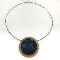 Circular Timber Pendant - Ink Blue Blossom