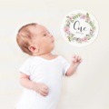 Round Baby Milestone Cards. Monthly Pack of 13 Baby Girl Cards.