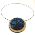 Circular Timber Pendant - Ink Blue Blossom