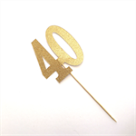 Gold Glitter '40' Cake Topper, 40th Birthday Cake Forty Topper Decoration