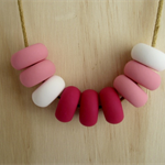Polymer Clay Bead Necklace - Pink / White / Fuchsia