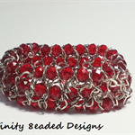 Red Elastic Bead and Chain Bracelet
