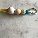 Hand Painted Wooden Beaded Keychain with Leather Tassel & Rhinestone Pastel Bead
