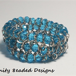 Blue Elastic Bead and Chain Bracelet