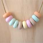 Polymer Clay Bead Necklace - Pastel Colours