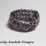 Purple Elastic Bead and Chain Bracelet