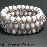 White Elastic Bead and Chain Bracelet