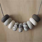 Polymer Clay Bead Necklace - Grey / White / Granite