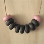 Polymer Clay Bead Necklace - Pink / Black / Glitter