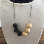 Gorgeous Hand Painted Black and Natural Wood Necklace on Brass Ball Chain