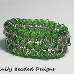 Green Elastic Bead and Chain Bracelet