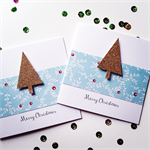 SET OF 6 Merry Christmas tree gold glitter aqua red holly card