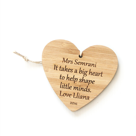 Teacher Gift Custom made decoration ornament bamboo ply wood personalised heart