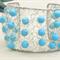 Turquoise Crochet Cuff Bracelet, Crochet Jewellery, Crochet Wire Jewellery.