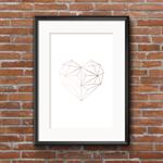 Rose Gold Heart - A4 Wall Art Print