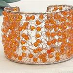 Orange Copper Crochet Cuff Bracelet, Crochet Jewellery, Crochet Wire Jewellery.