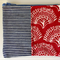 Dark red and navy and white striped coin purse with denim