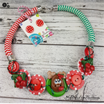 Santa Hat Twist -Christmas -  Button Fusion Necklace - Jewellery - Earrings
