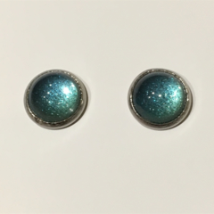 Marcella -  Round Glass Tile Stud Earrings