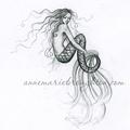 Night Sparkle Mermaid Hand Painted Nautilus Shell Pendant
