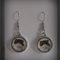 Pewter Cabochon Cat Earrings