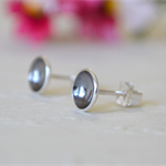 Oxidised Concave Sterling Silver Studs - 7mm