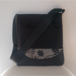 SALE: Black Canvas, Leather and Black Flowers