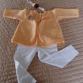 3-9mths - Hand knitted cardigan in light pumpkin: washable, OOAK