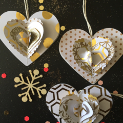 Heart gift tags 6 gold