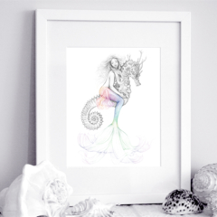 11x14 inch Matted Signed Mermaid Riding Seahorse Rainbow Drawing Art Print