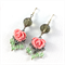 Pink and mint green floral crystal earrings with sterling silver earring hooks