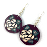 Handcrafted polymer clay earrings with sterling silver hooks - aubergine roses