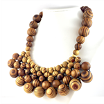 Handcrafted Woven long or short adjustable statement necklace- Wood beads