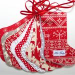 Nordic Christmas Stocking Garland, Scandinavian Garland, Red White & Grey