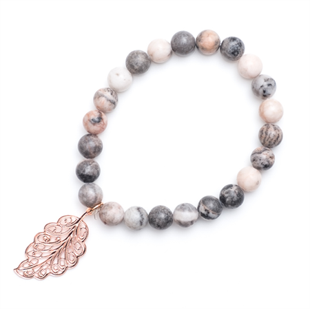 Rose gold leaf grey bracelet