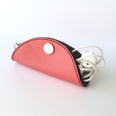 Cordelia Cord Wrap: Two-tone coral pink and slate grey leather