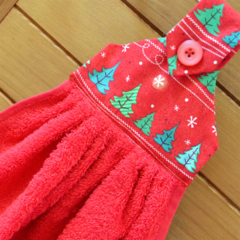 Christmas fabric topped red hanging hand towel
