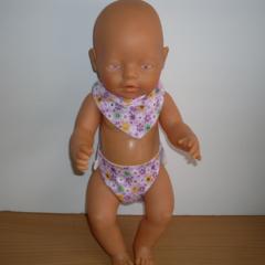 Dolls Dribble/Bandana Bib and matching nappy set