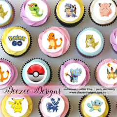 "Pokemon Go Mini Edible Icing Cupcake Toppers - 1.5"" - PRE-CUT - Sheet of 30"